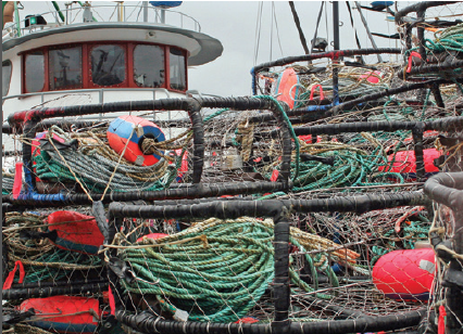 Photo of fishing boat with nets and ropes